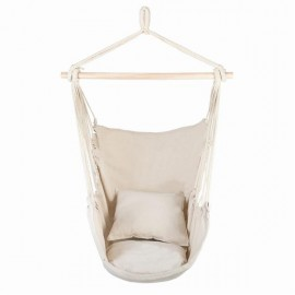 [US-W]Distinctive Cotton Canvas Hanging Rope Chair with Pillows Beige