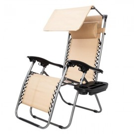 Zero Gravity Lounge Chair with Awning Leisure Chair Khaki