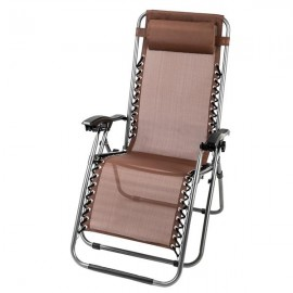 2PCS Zero Gravity Lounge Chair Brown with Portable Cup Holder Table