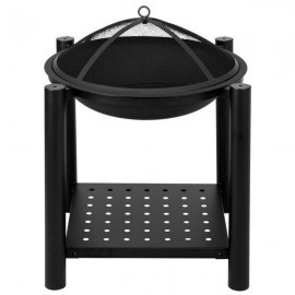 "22"" Four Feet Iron Brazier Wood Burning Fire Pit Decoration for Backyard Poolside with a Shelf"
