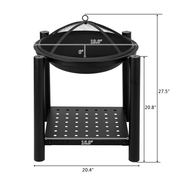 """22"""" Four Feet Iron Brazier Wood Burning Fire Pit Decoration for Backyard Poolside with a Shelf"""