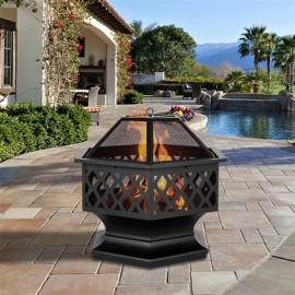 "24"" Hexagonal Shaped Iron Brazier Wood Burning Fire Pit Decoration for Backyard Poolside"