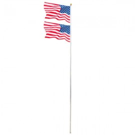 [US-W]25ft Solemn Outdoor Decoration Sectional Halyard Pole US America Flag Flagpole Kit