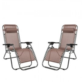 [US-W]2pcs Plum Blossom Lock Portable Folding Chairs with Saucer Brown