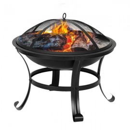 "22"" Curved Feet Iron Brazier Wood Burning Fire Pit Decoration for Backyard Poolside"