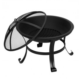 """22"""" Curved Feet Iron Brazier Wood Burning Fire Pit Decoration for Backyard Poolside"""