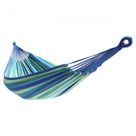 200*150cm Portable Polyester & Cotton Hammock Blue & Green Strip
