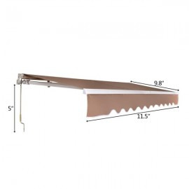 12x10 ft Retractable Awning Sandy Color