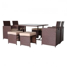 9 Pieces Wood Grain PE Wicker Rattan Dining Ottoma..