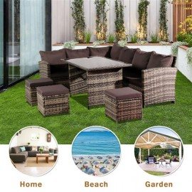 Oshion 9 Seat Rattan Furniture Outdoor Sofa Dining Table With Free Rain Cover Black Silk Screen Glass Dark Grey Sofa Cover (UK Flame Retardant Material) Grey Rattan Total 2 Boxes