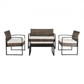 Oshion Outdoor Leisure Rattan Furniture Wicker Chair 4-piece Metal Armrest-Grey
