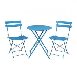 [US-W]Iron Folding Three-Piece Set 2 Chairs 1 Table Blue