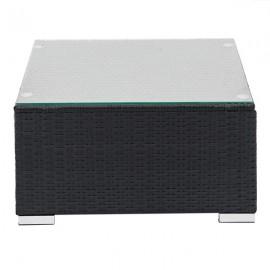 Fully Equipped Weaving Rattan Sofa Set with 2pcs Corner Sofas & 2pcs Single Sofas & 1 pcs Coffee Table Black