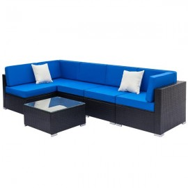 Fully Equipped Weaving Rattan Sofa Set with 2pcs C..