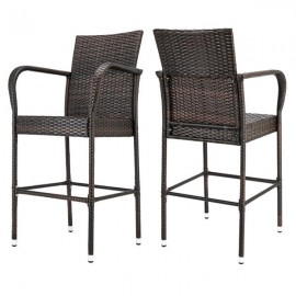 2pcs High Bar Chair Brown Gradient
