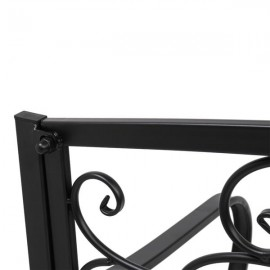 "51"" Patio Park Garden Outdoor Bench Patio Porch Chair Deck Iron Frame Black"