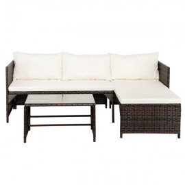3pcs 1 Double Seat 1 Imperial Concubine Seat 1 Tea Table Rattan Sofa With Brown Gradient