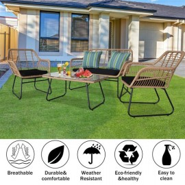 Oshion 4pcs Outdoor Wicker Rattan Chair Patio Furniture Set with Table Cushions Tan
