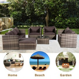 Oshion 8-Seat Rattan Furniture Outdoor Sofa With Free Rain Cover Dark Gray Sofa Cover (UK Flame Retardant Material)-Gray Rattan Total 4 Boxes