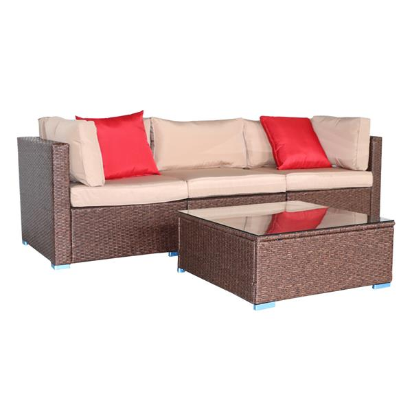 4 Pieces Wood Grain Patio PE Wicker Rattan Corner Sofa Set