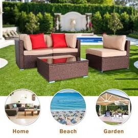 4 Pieces Wood Grain Patio PE Wicker Rattan Corner Sofa Set