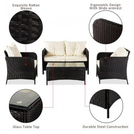 Oshion Outdoor Leisure Sofa Combination Four-piece Set-Black Package-1 (Combination Total 2 Boxes)