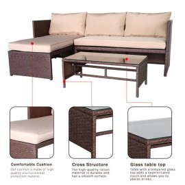 3 Pieces Wood Grain PE Wicker Rattan Ottoman with Tempered Glass Table Patio Sofa Set