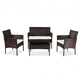 OSHION Outdoor Living Room Balcony Rattan Furniture Four-Piece-Brown