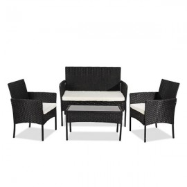 OSHION Outdoor Living Room Balcony Rattan Furniture Four-Piece-Black